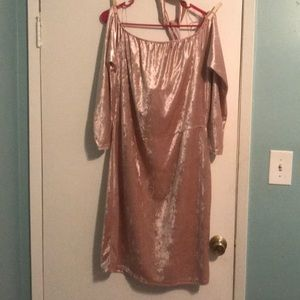 Pink suede dress with choker